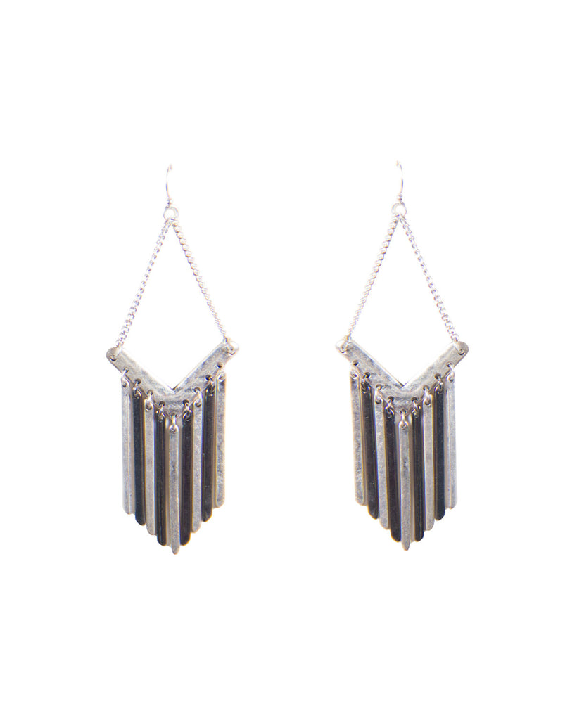 Downright Metal Fringe Earrings - Antique Silver - 2020AVE