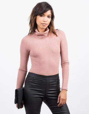 Front View of Downtown Turtleneck Bodysuit
