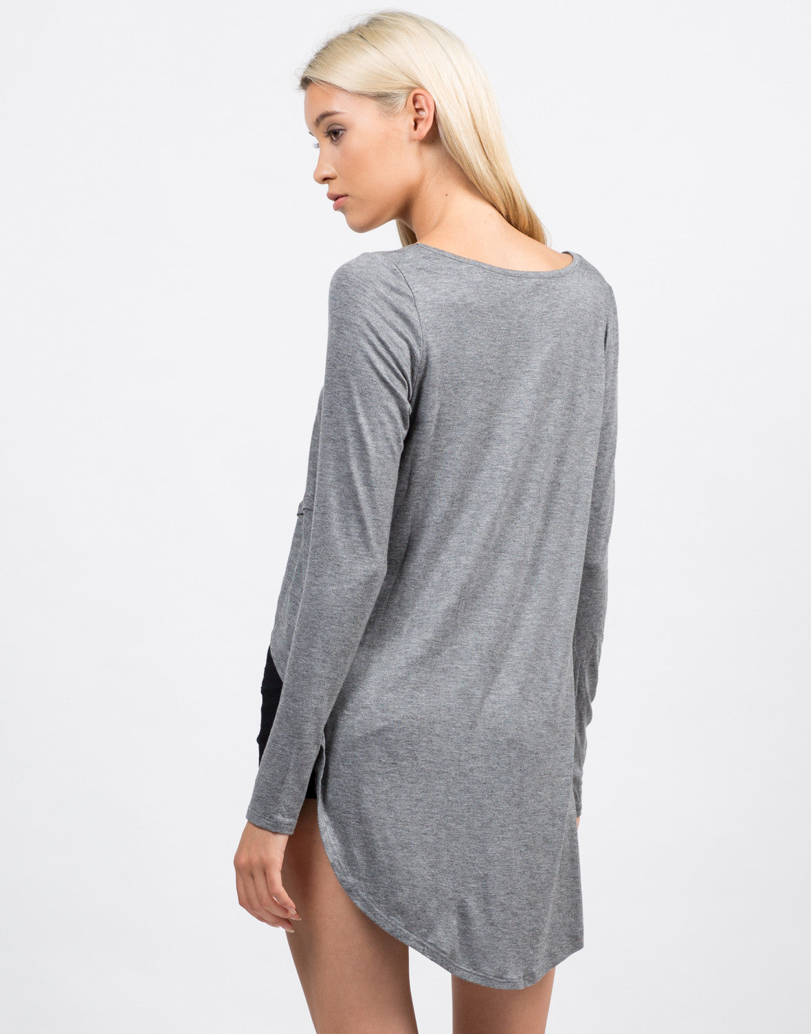 Back View of Dramatic Long Sleeve Top