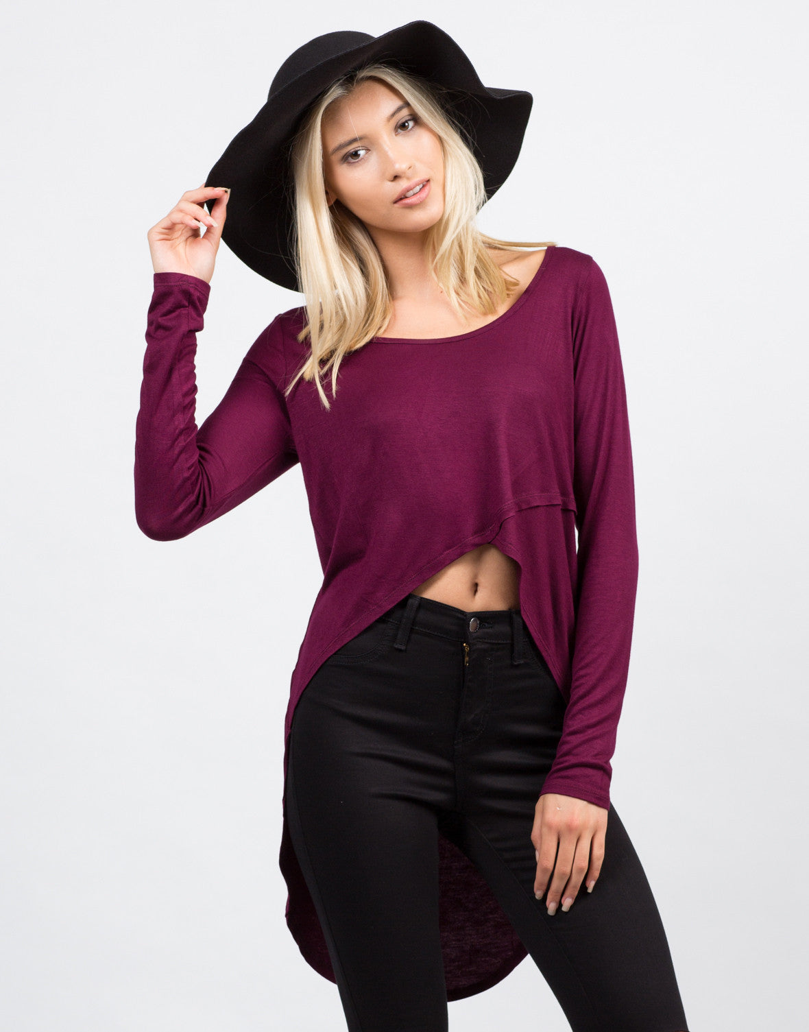 Front View of Dramatic Long Sleeve Top