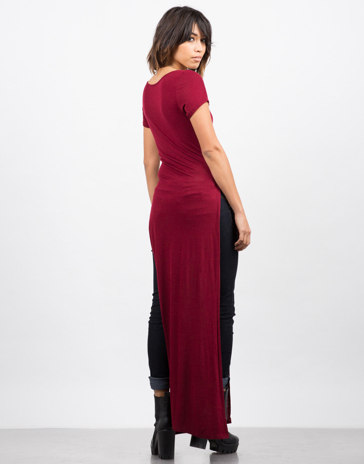 Back View of Dramatic Side Slits Maxi Tee
