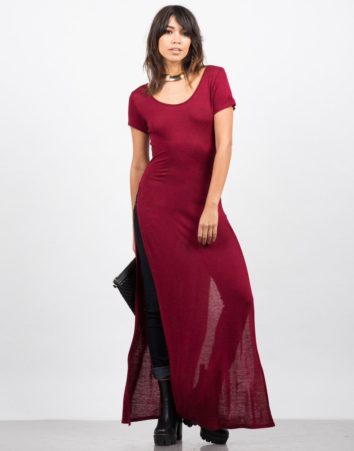 Front View of Dramatic Side Slits Maxi Tee