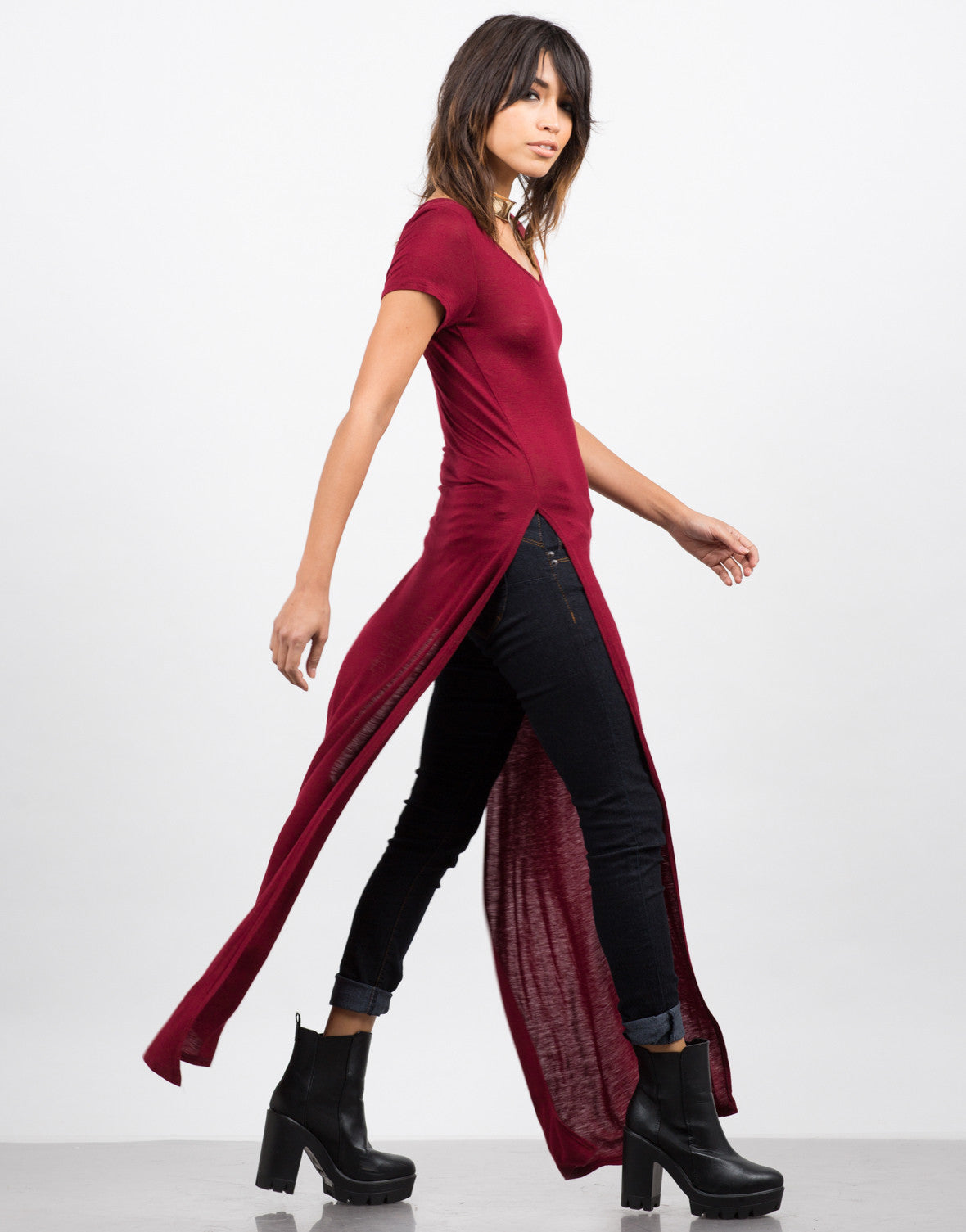 Side View of Dramatic Side Slits Maxi Tee