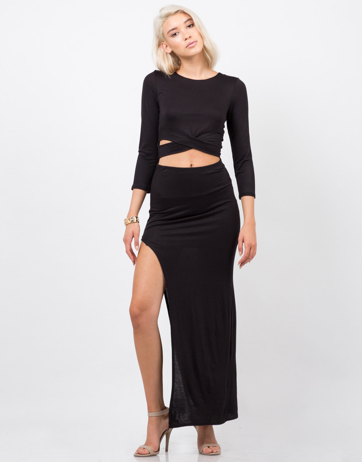 Front View of Dramatic Slit Midi Skirt