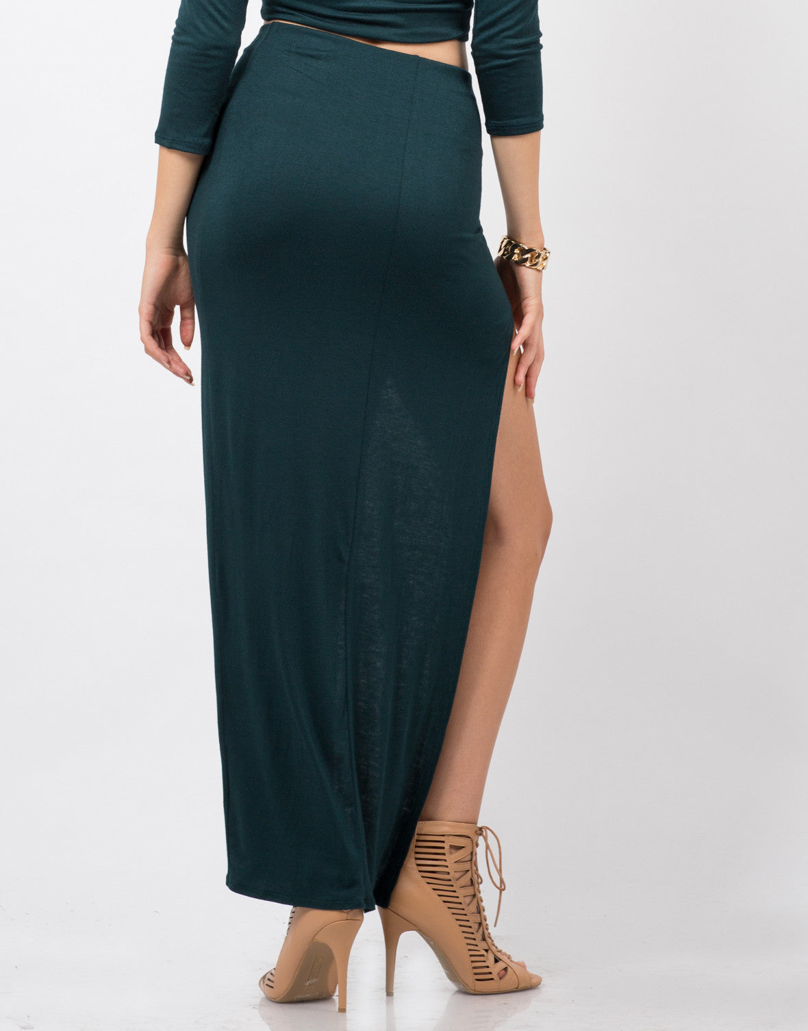 Back View of Dramatic Slit Midi Skirt