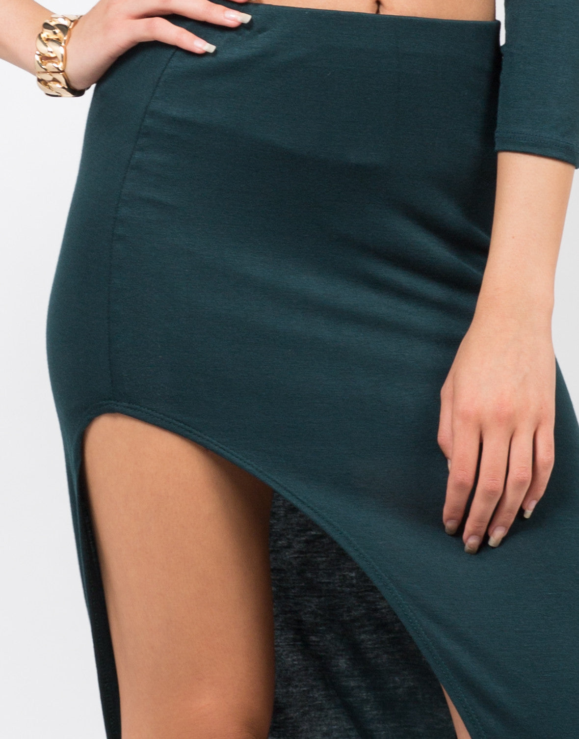 Detail of Dramatic Slit Midi Skirt