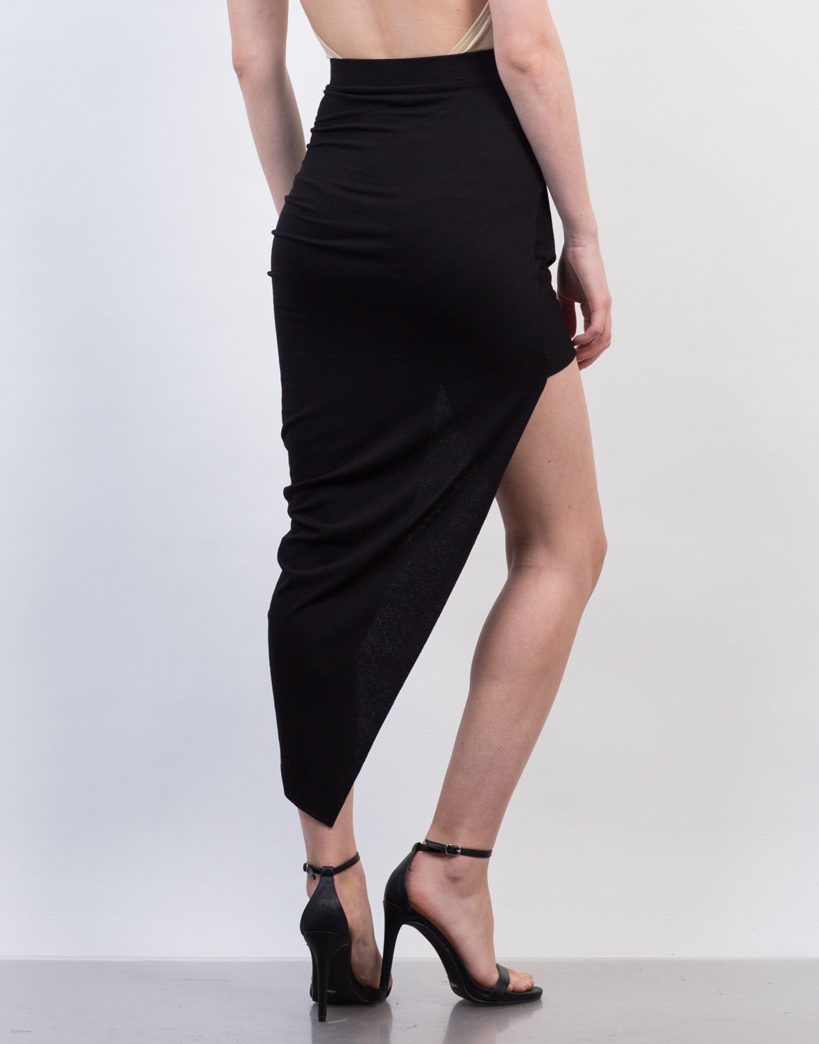 Back View of Draped Asymmetrical Skirt