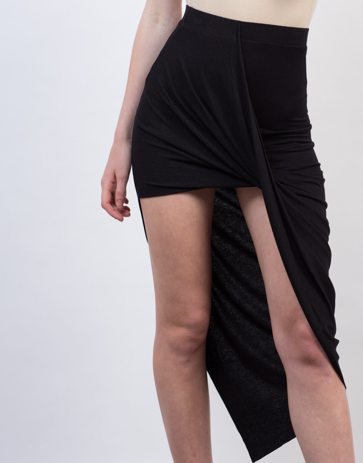 Detail of Draped Asymmetrical Skirt