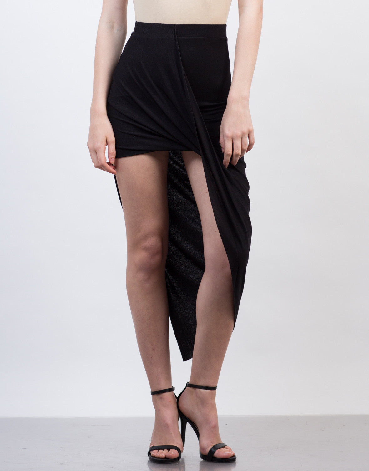 Front View of Draped Asymmetrical Skirt