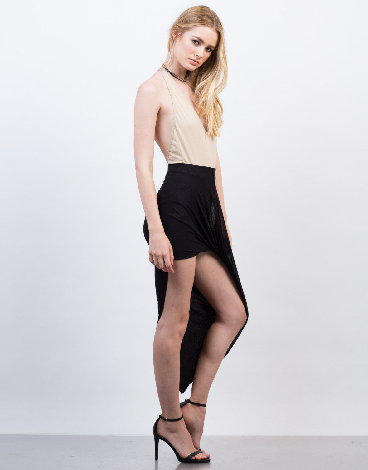 Side View of Draped Asymmetrical Skirt