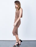 Side View of Draped Back Bodycon Dress