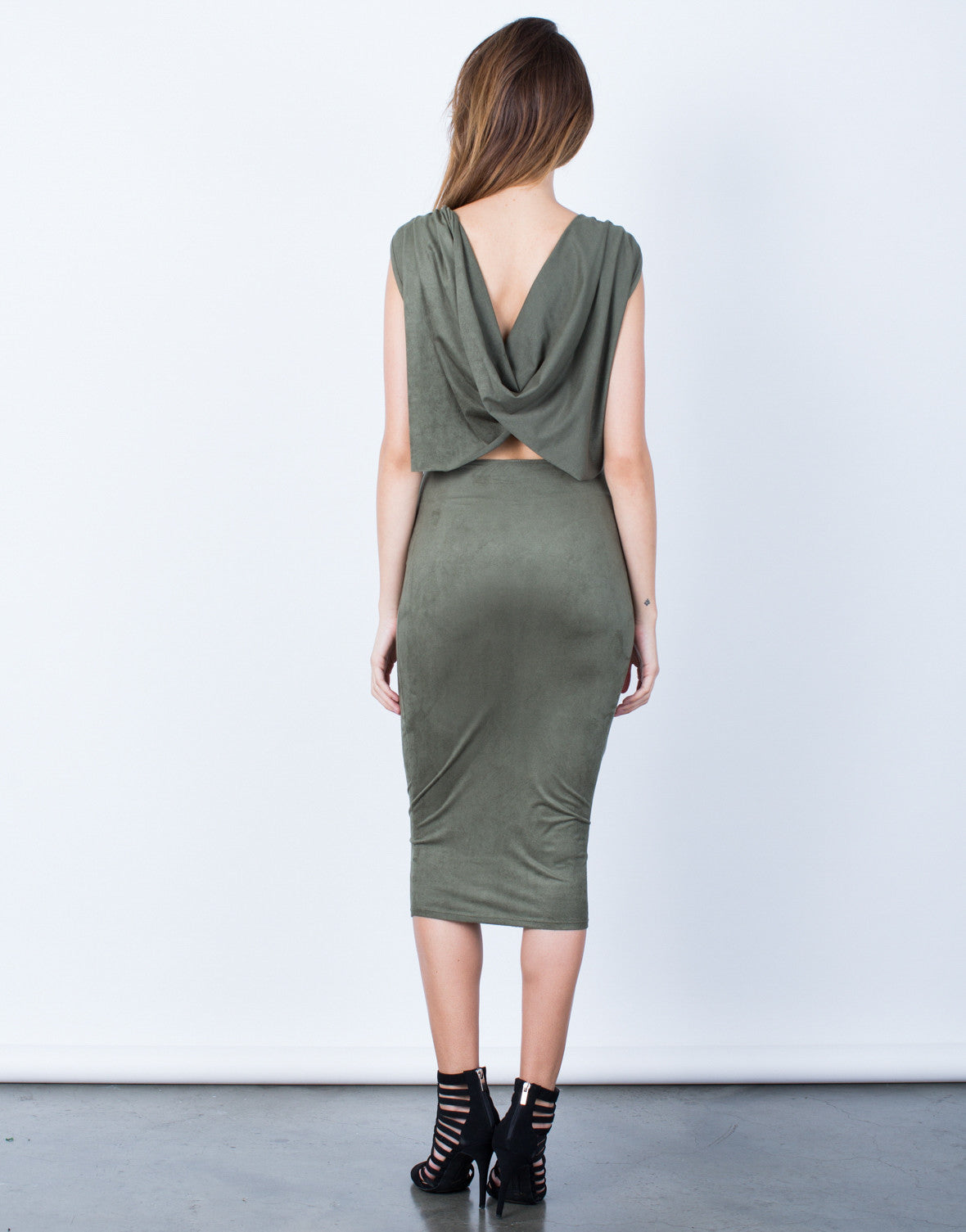 Back View of Draped Back Bodycon Dress