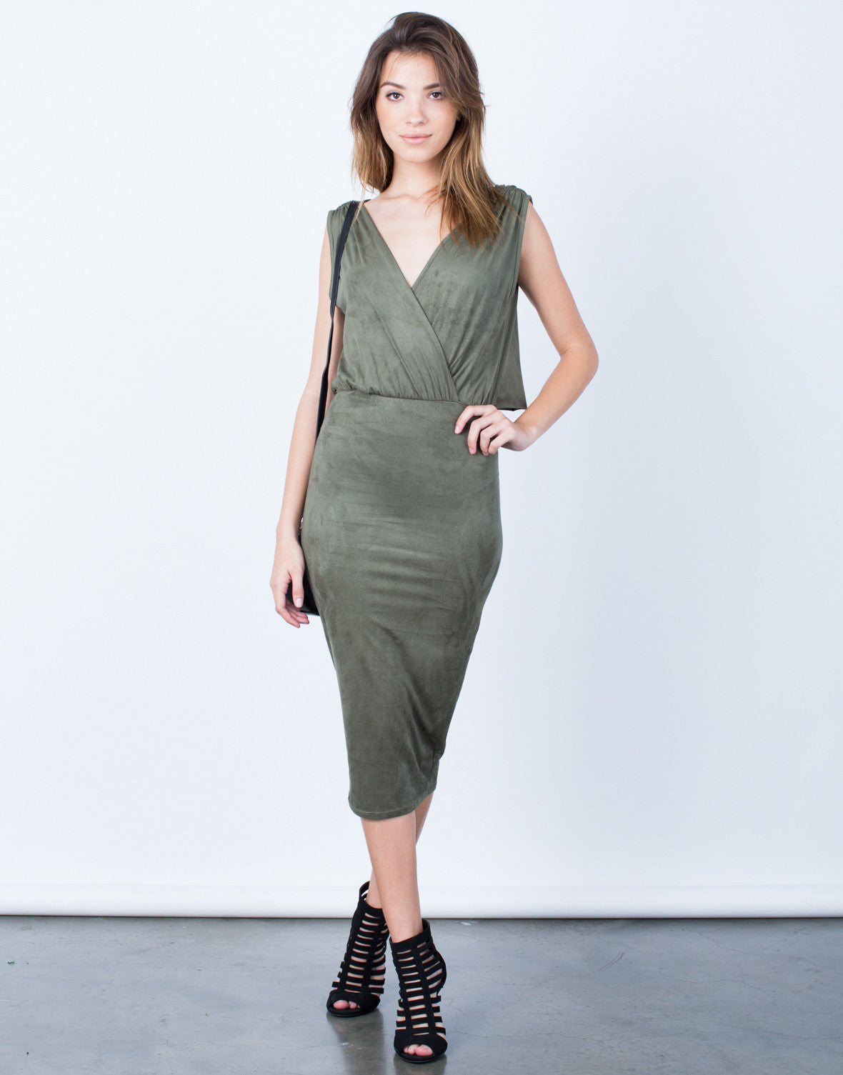 Front View of Draped Back Bodycon Dress