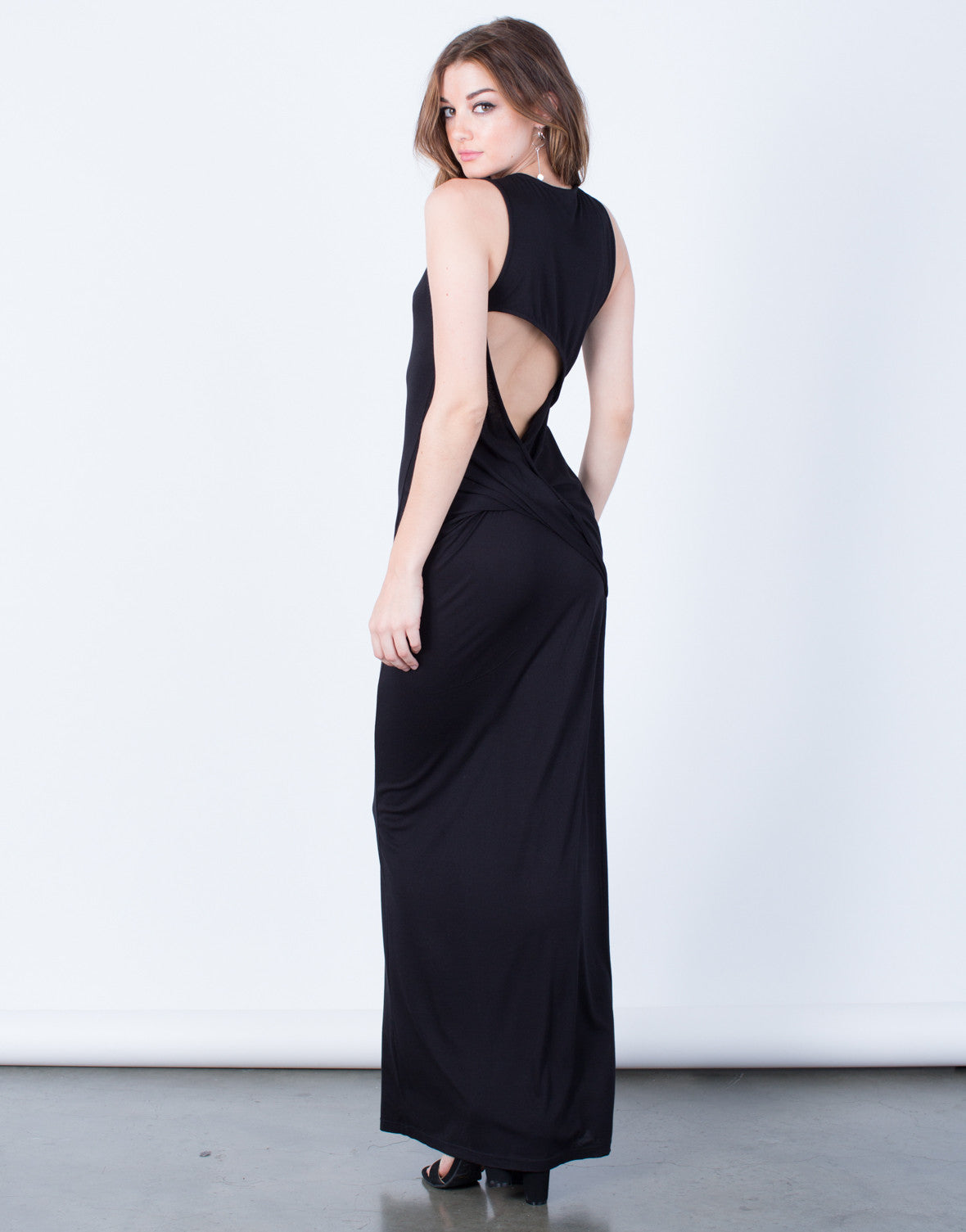 Back View of Draped Back Long Maxi Dress