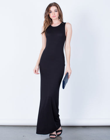 Front View of Draped Back Long Maxi Dress