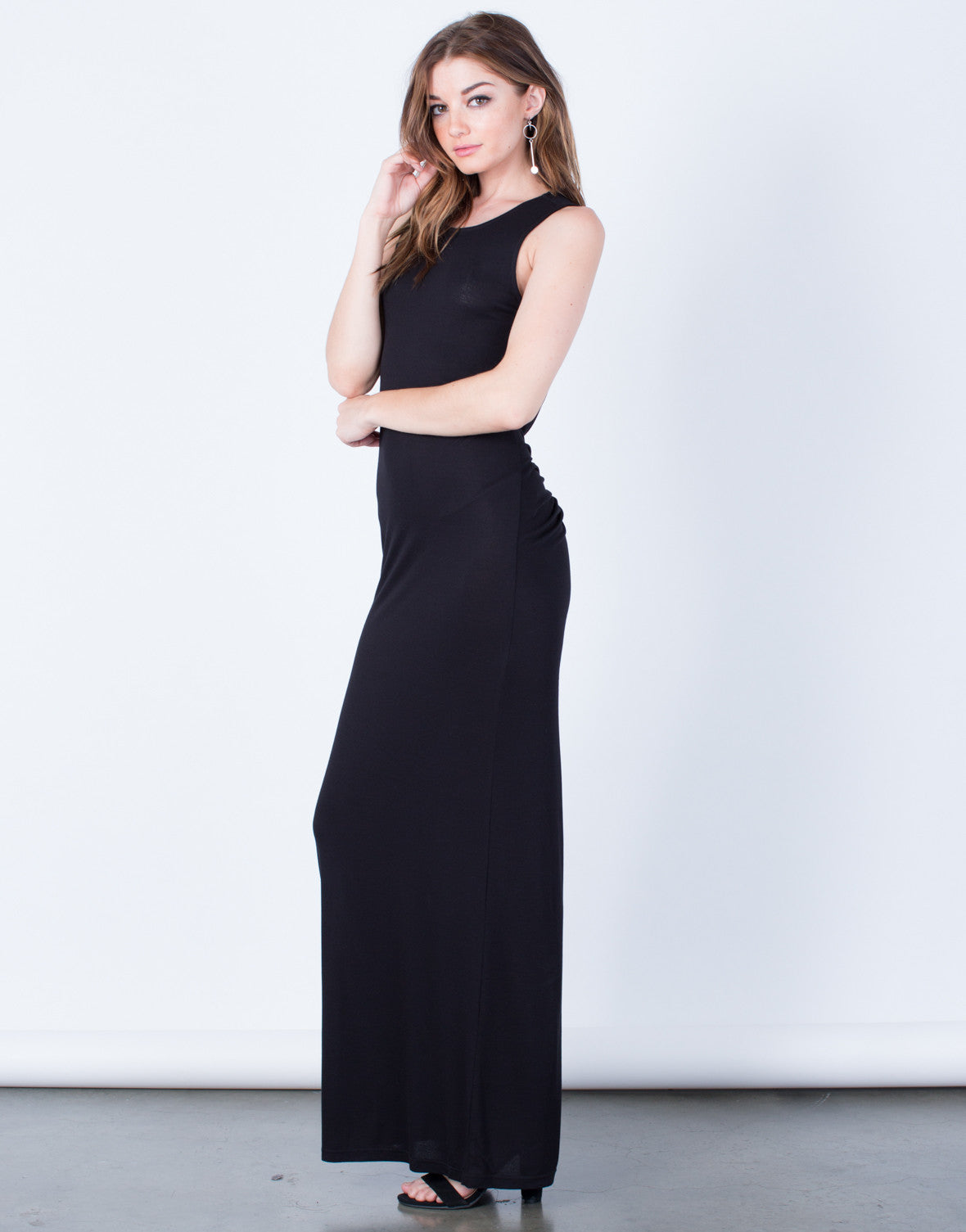 Side View of Draped Back Long Maxi Dress