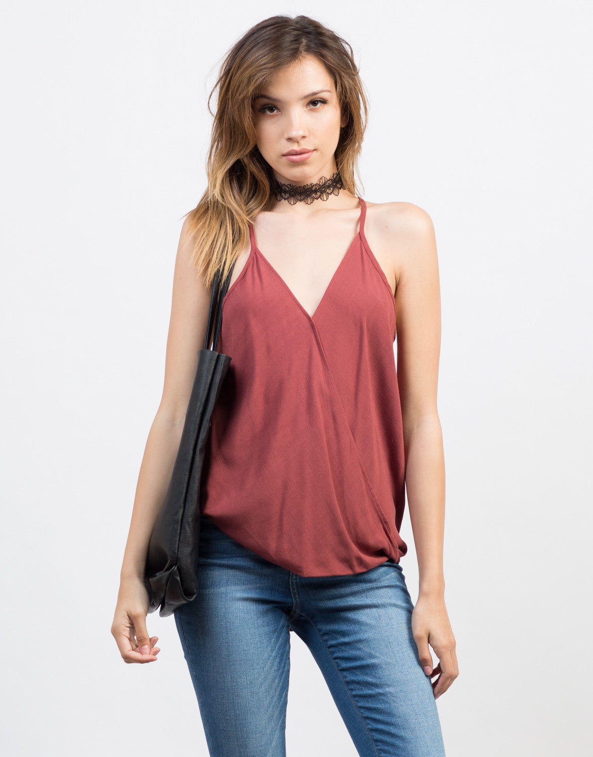 Front View of Draped Front Cami Top
