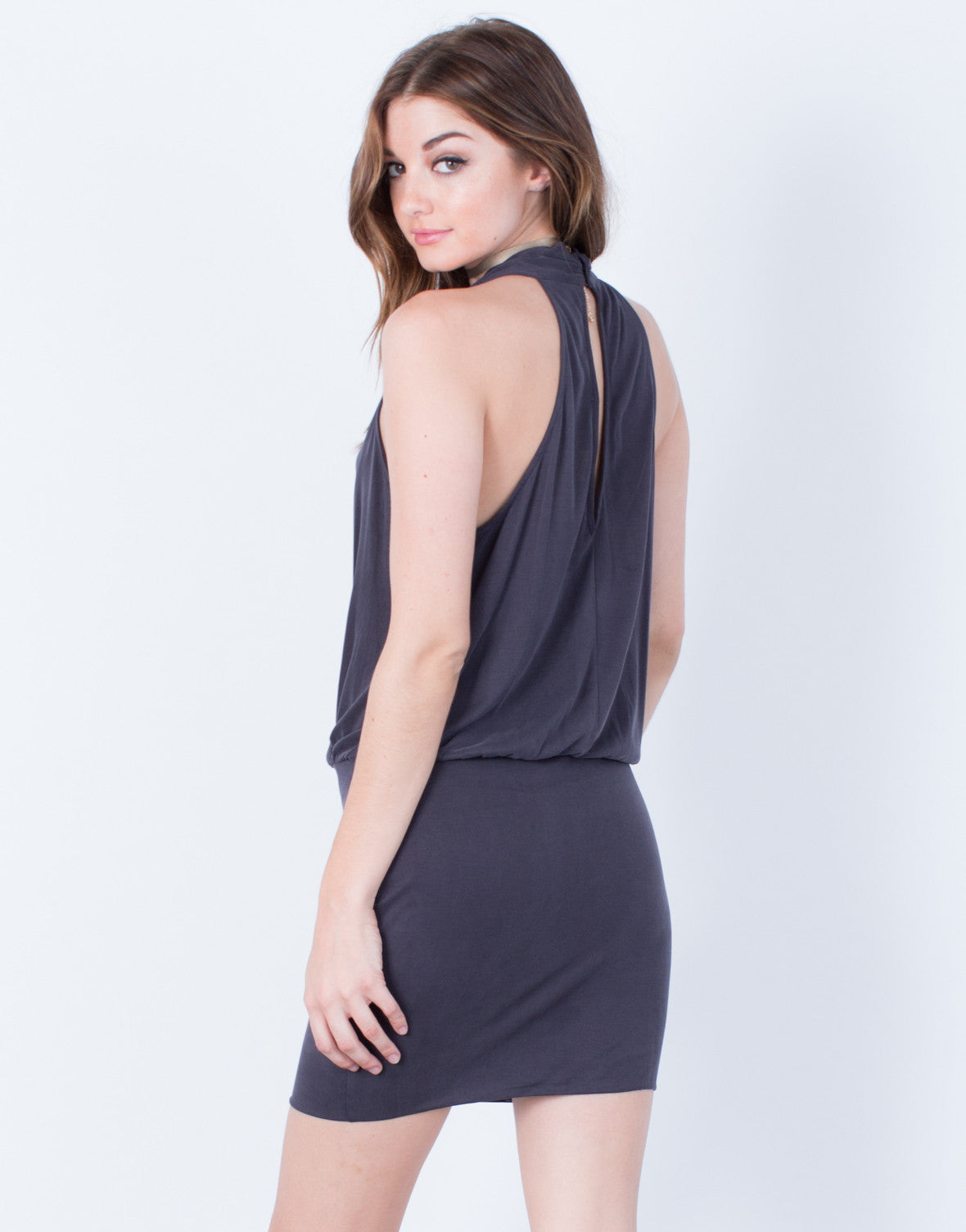 Back View of Draped Front Party Dress