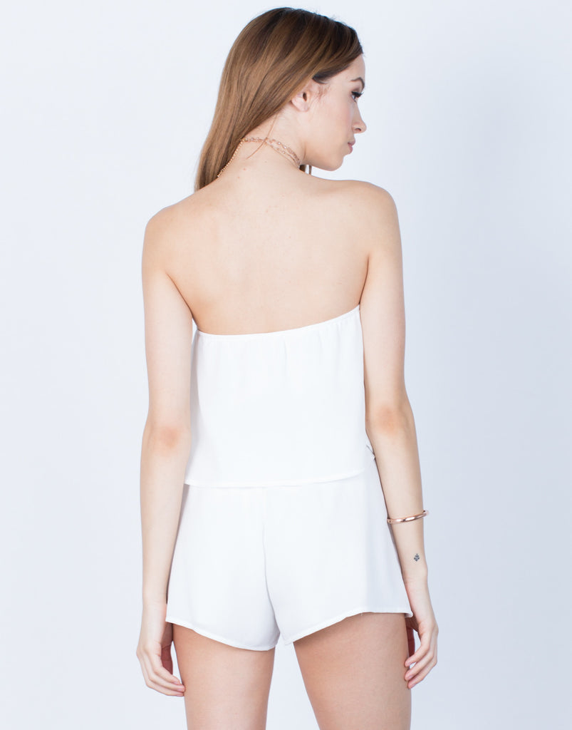 Back View of Draped Gauze Romper