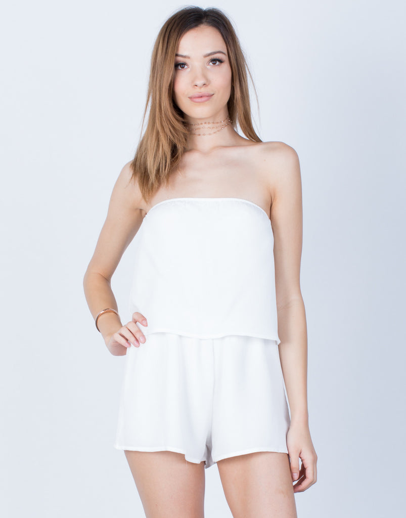 Front View of Draped Gauze Romper