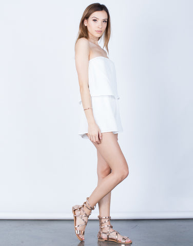 Side View of Draped Gauze Romper
