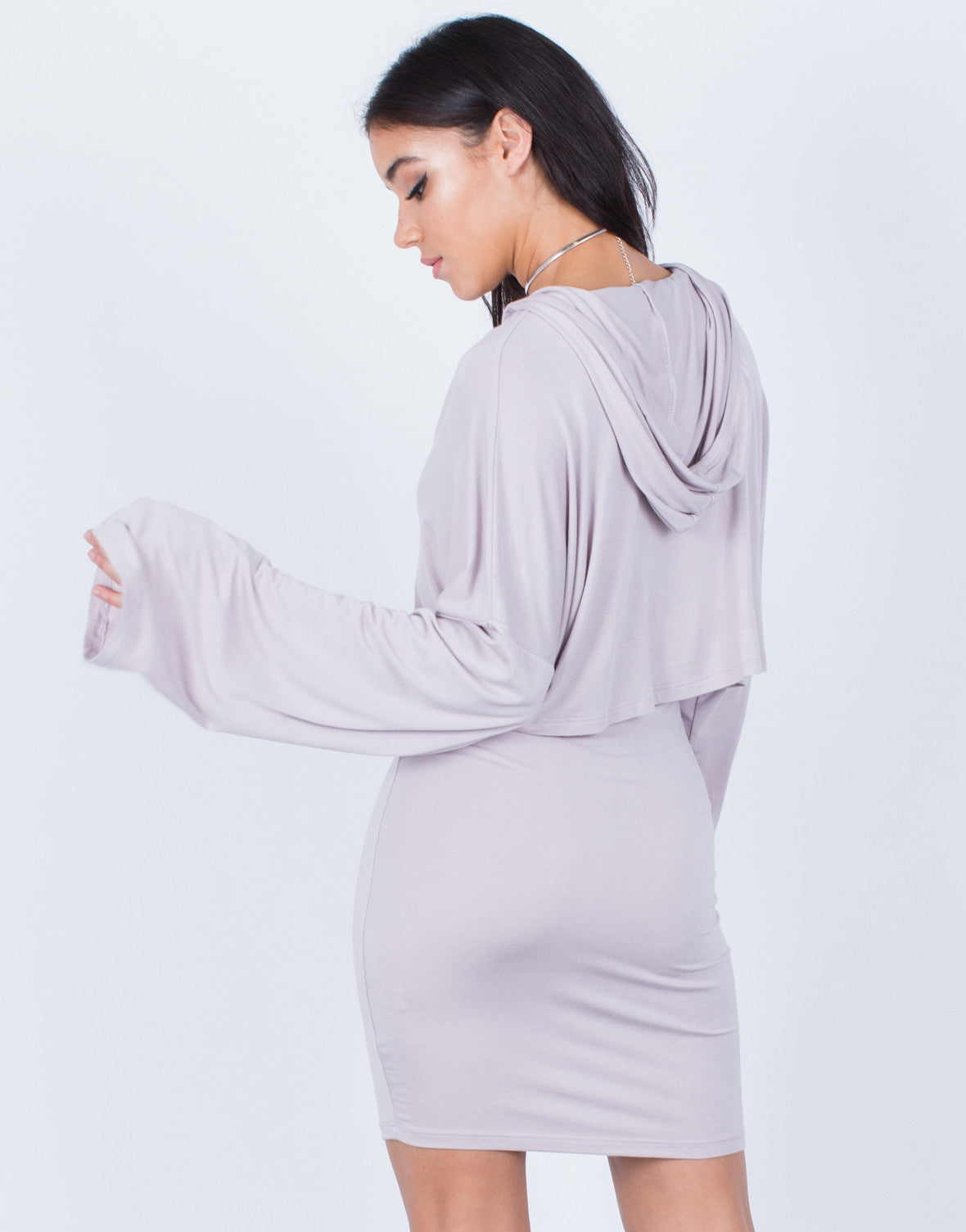 Back View of Draped Hoodie Dress