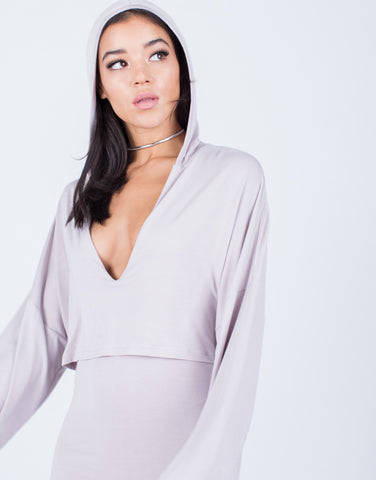 Detail of Draped Hoodie Dress