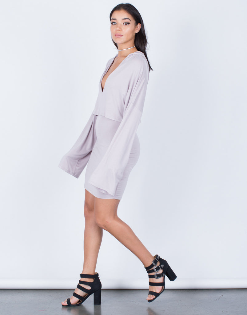Side View of Draped Hoodie Dress