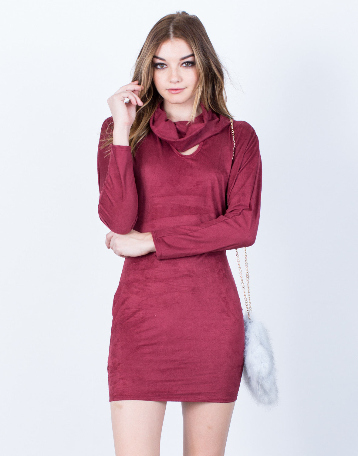 Draped Neck Suede Dress - 2020AVE