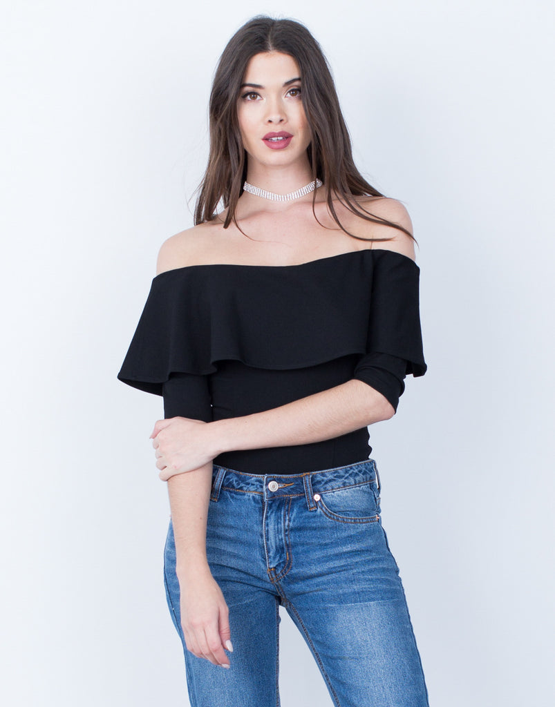 Draped Off-the-Shoulder Bodysuit - 2020AVE