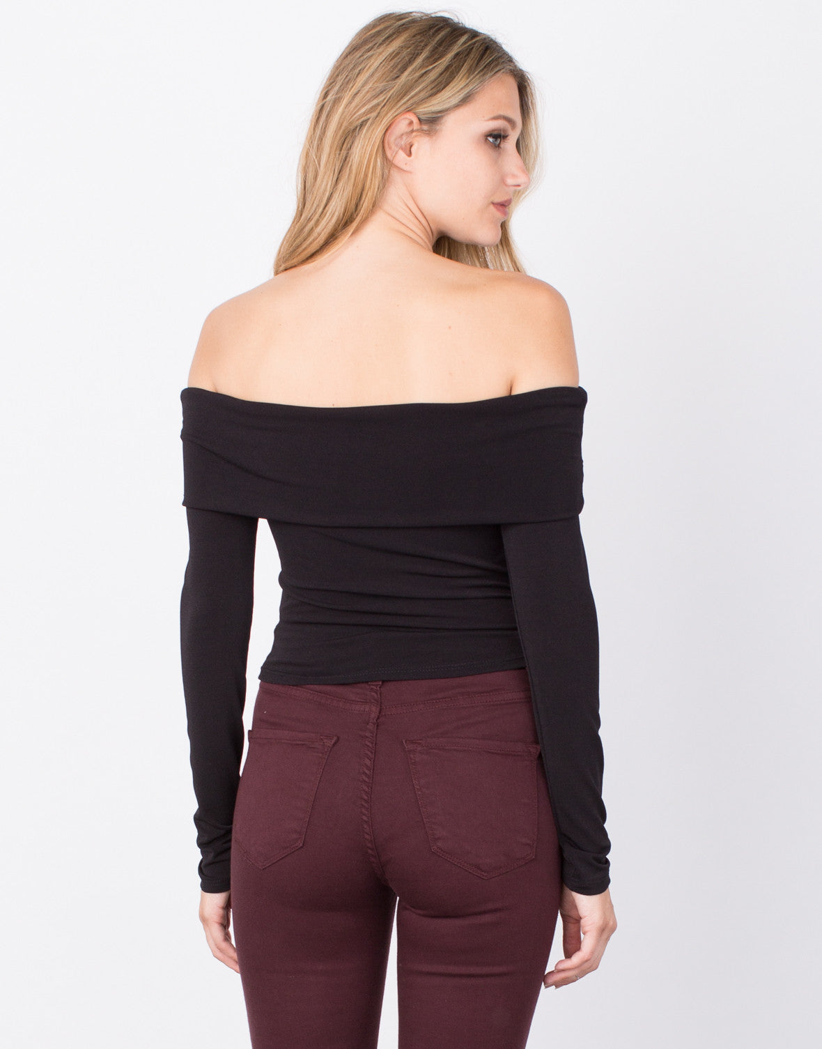 Back View of Draped Off-the-Shoulder Crop Top