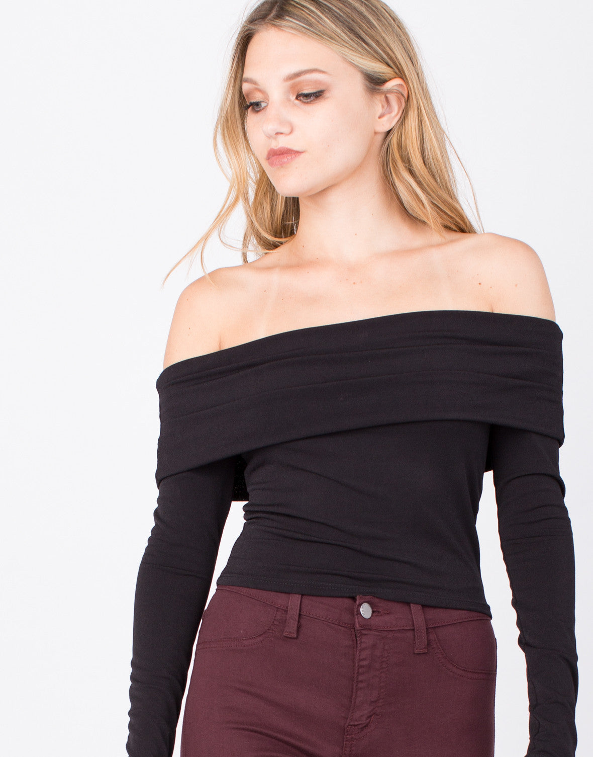 Detail of Draped Off-the-Shoulder Crop Top