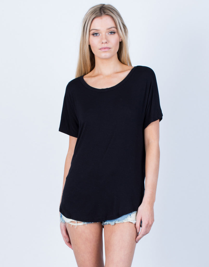 Front View of Draped Open Back Tee