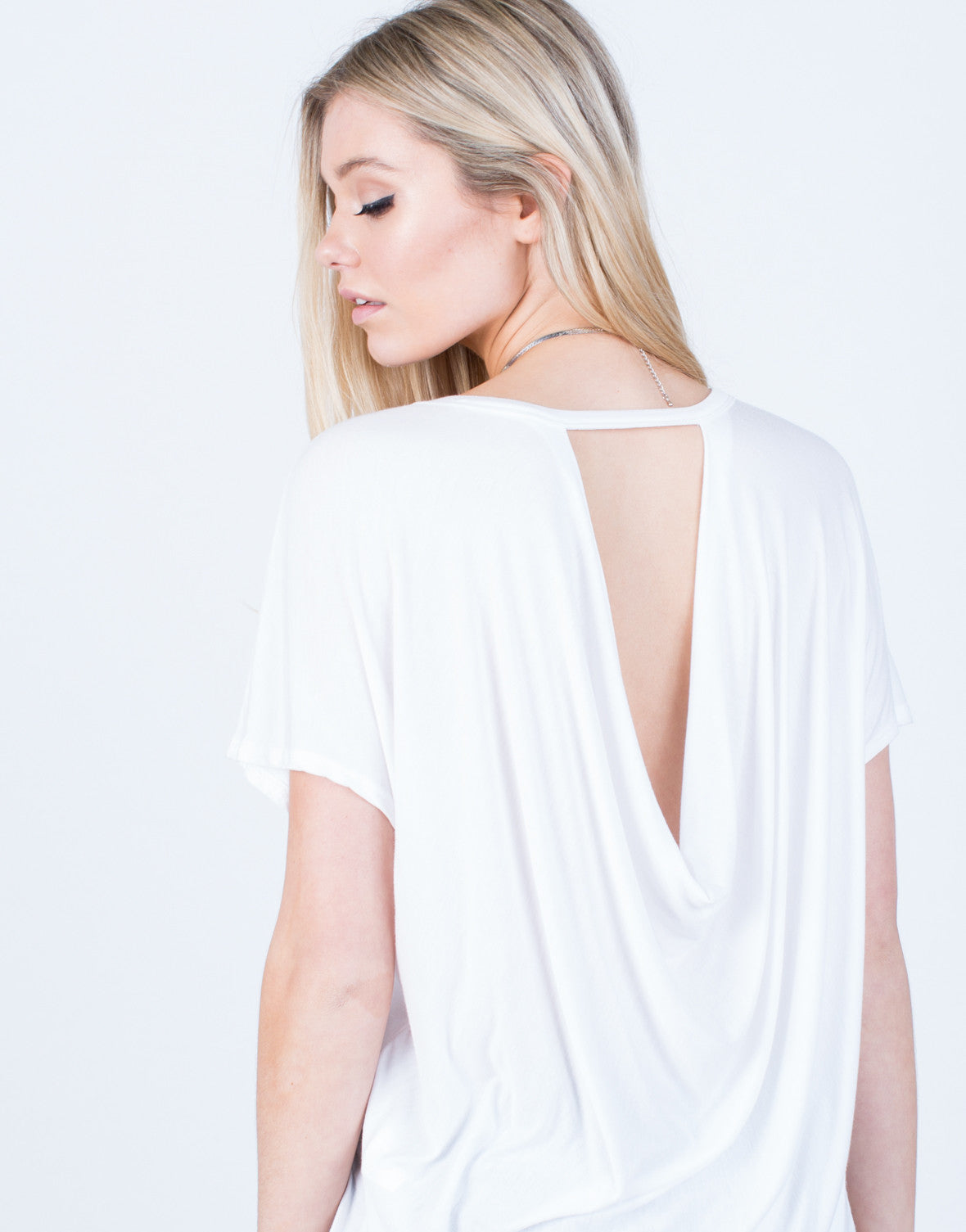 Detail of Draped Open Back Tee