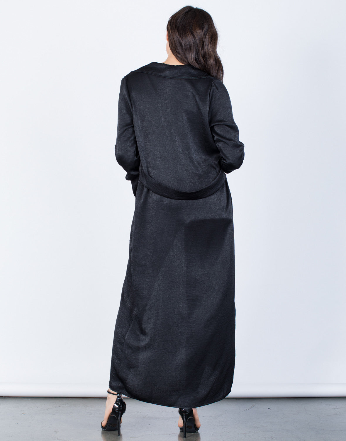 Back View of Draped Satin Duster