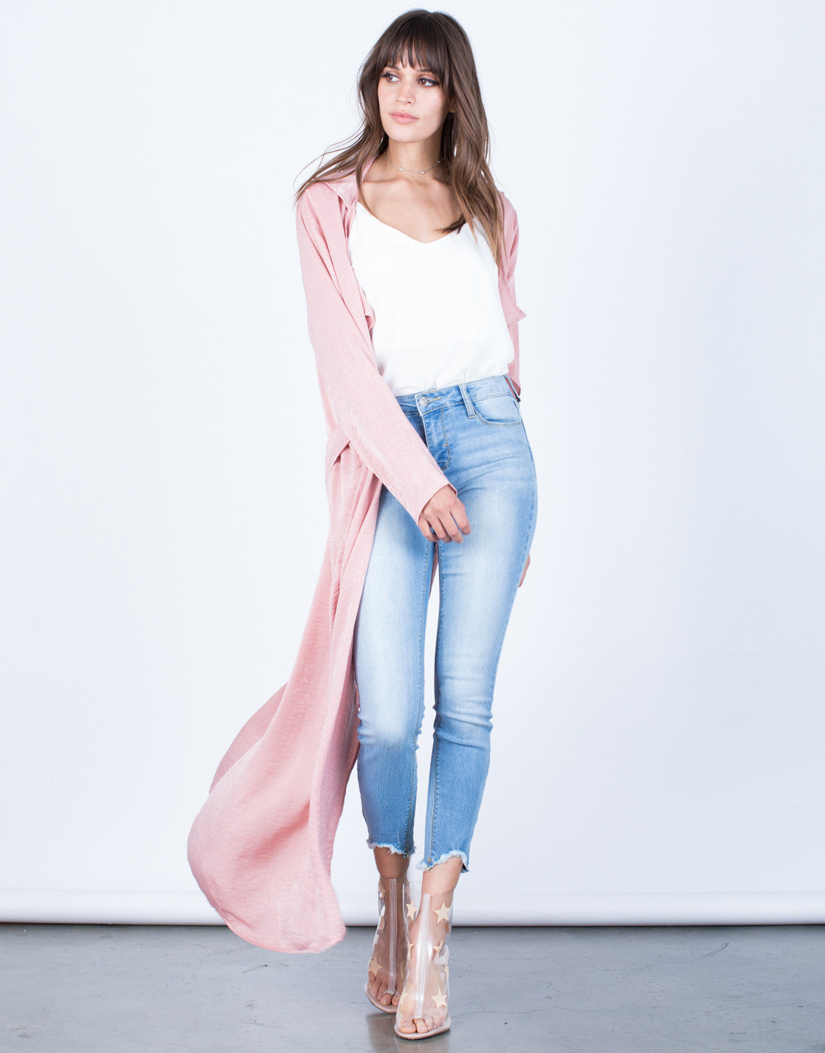 Front View of Draped Satin Duster