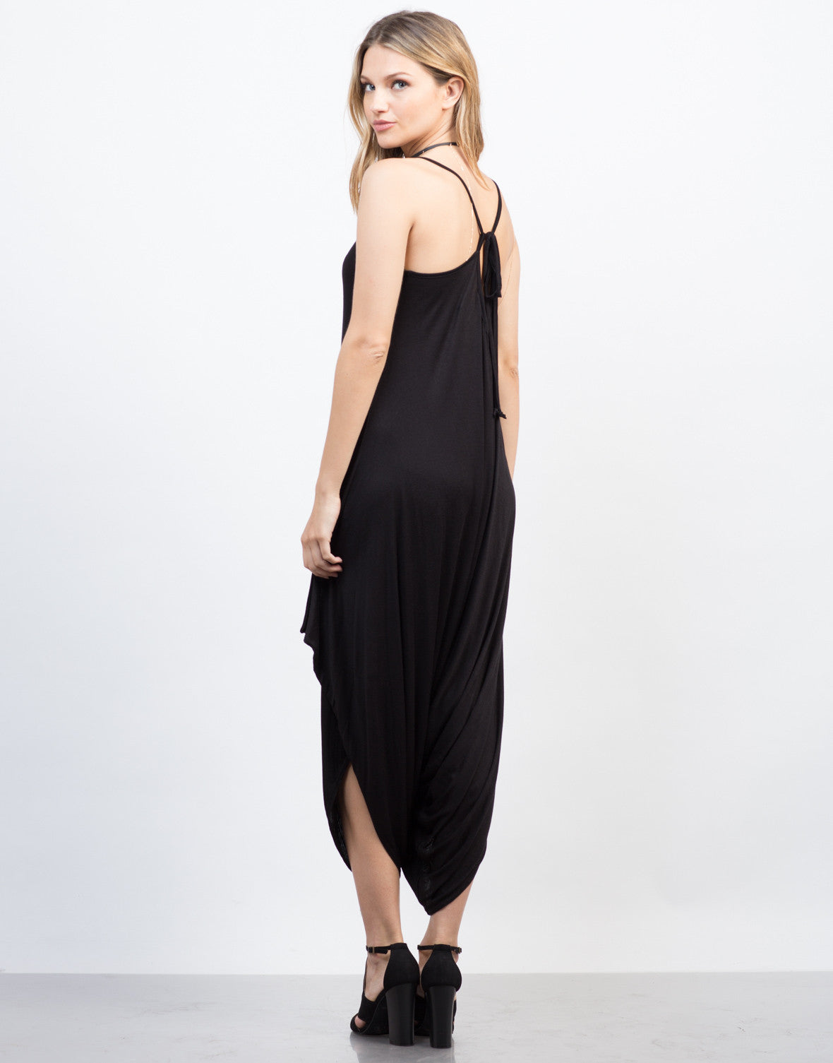 Back View of Draped Tie back Jumpsuit