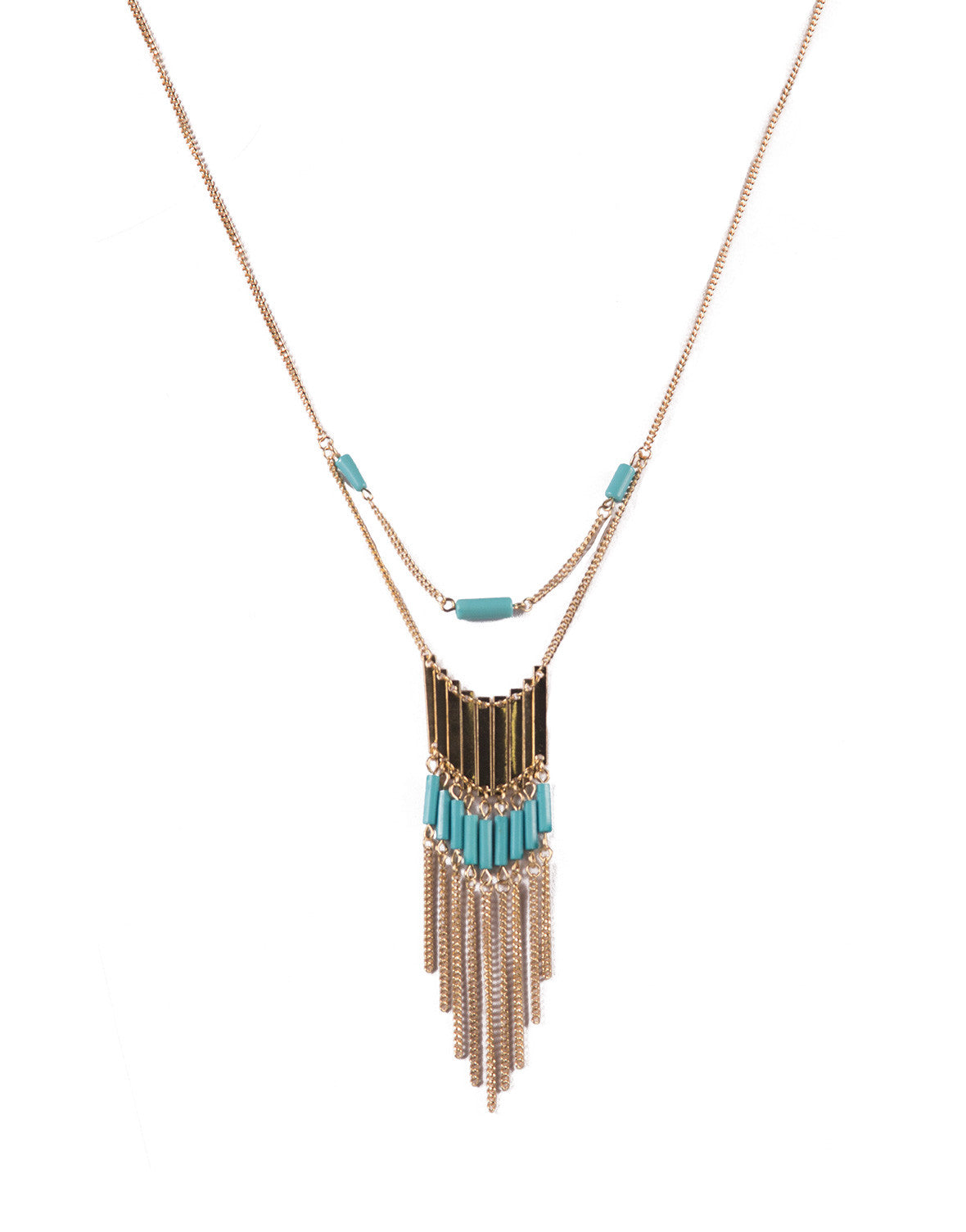 Draped Fringe Turquoise Collar Necklace