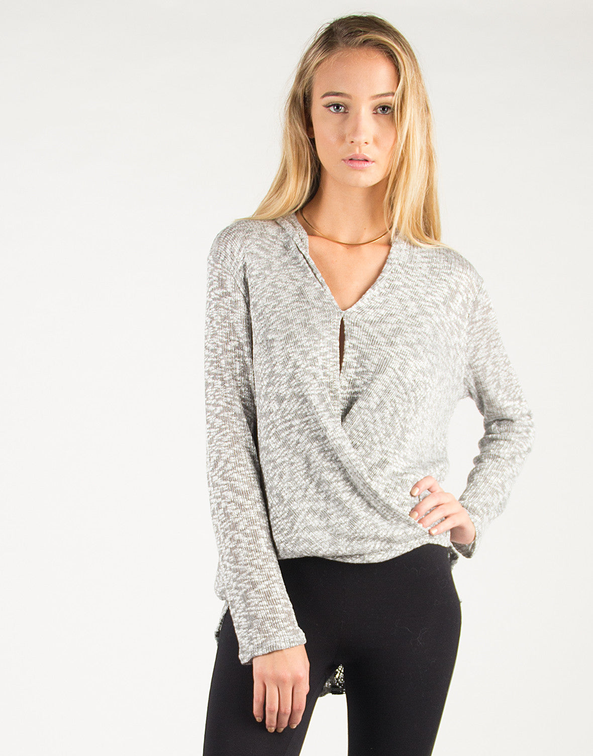 Draped Front Crochet Back Detail Long Sleeve Top - Gray - Large - 2020AVE