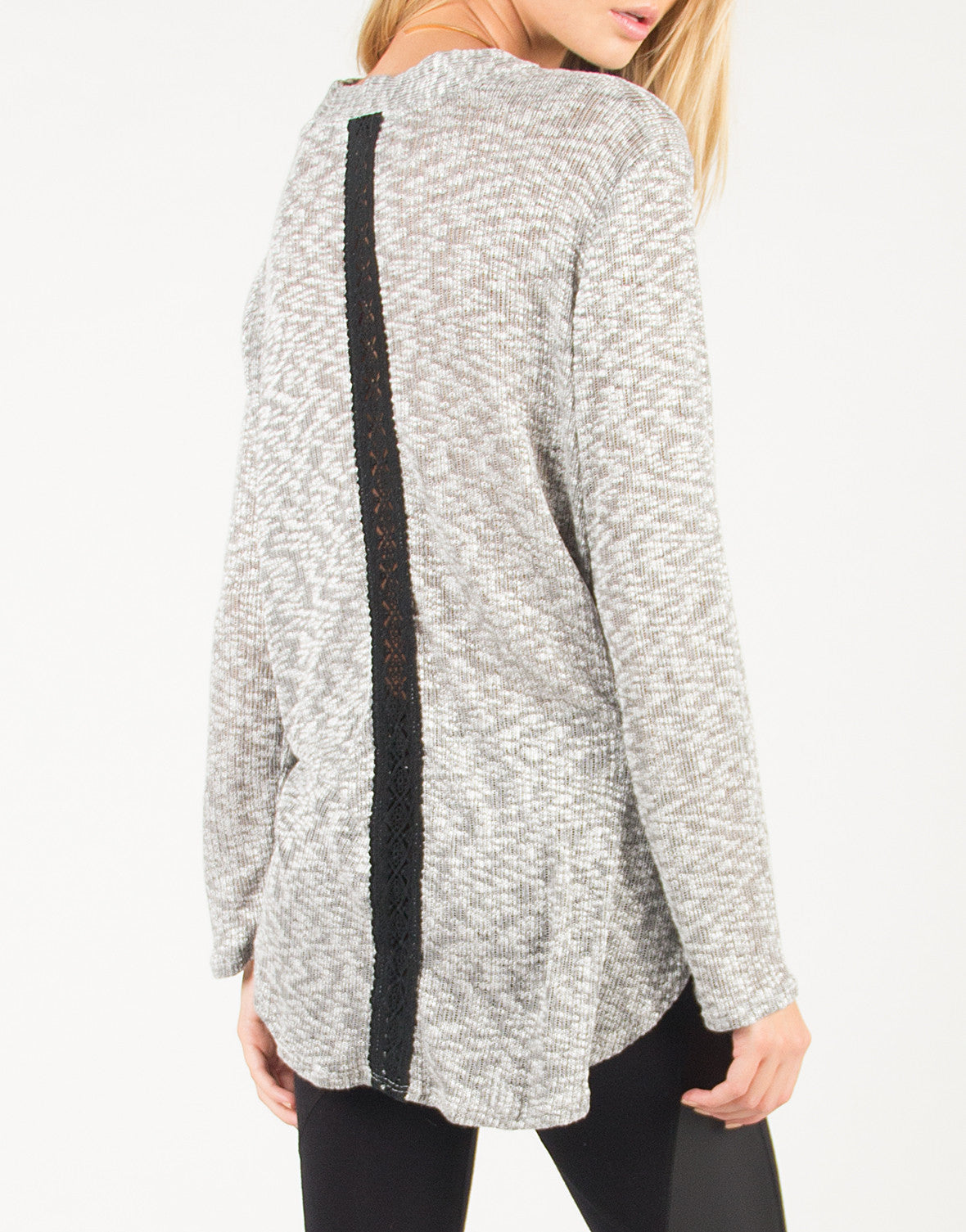 Draped Front Crochet Back Detail Long Sleeve Top - Gray