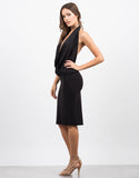 Side View of Draped Halter Dress