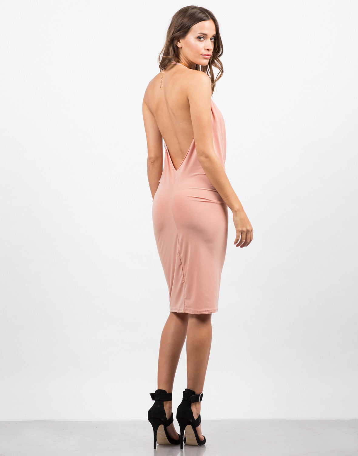Back View of Draped Halter Dress