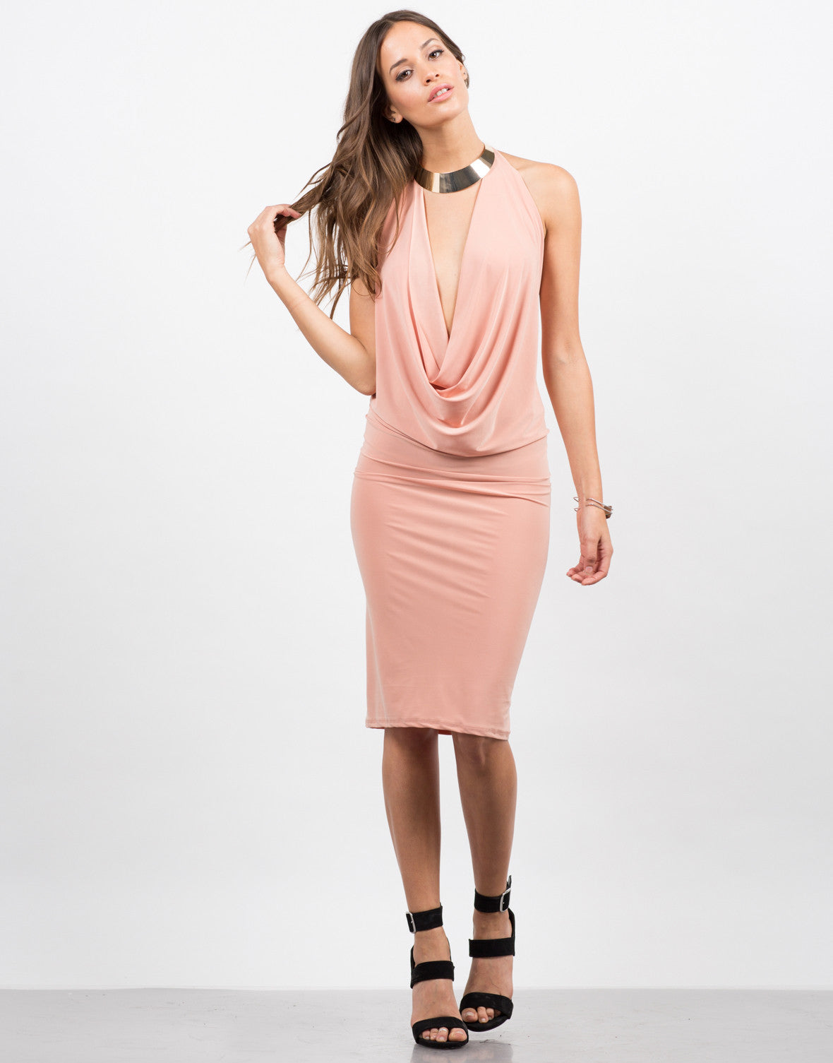 Front View of Draped Halter Dress
