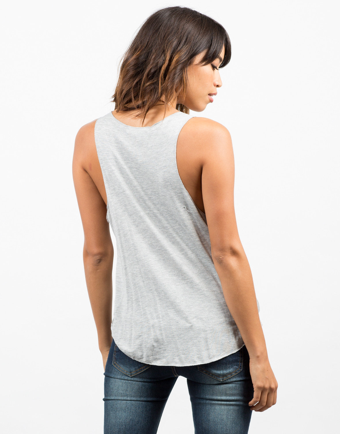 Back View of Draped Hi Low Jersey Tank
