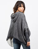 Back View of Draped Hooded Sweater