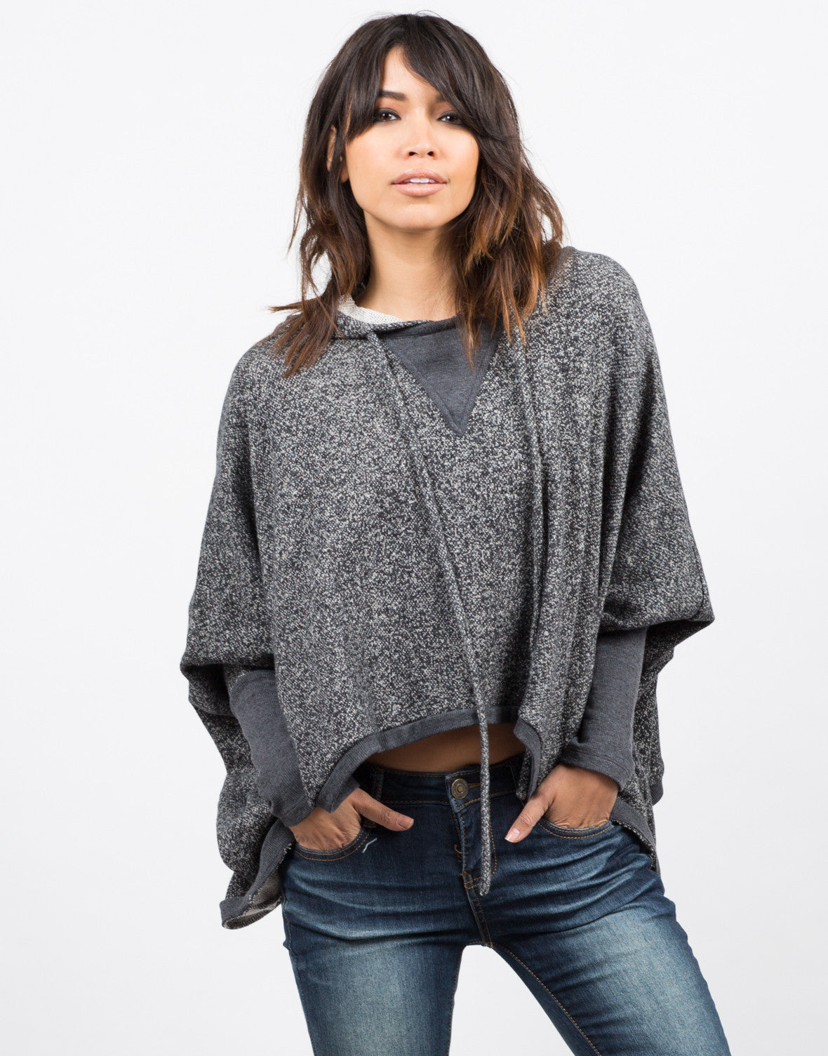 Front View of Draped Hooded Sweater