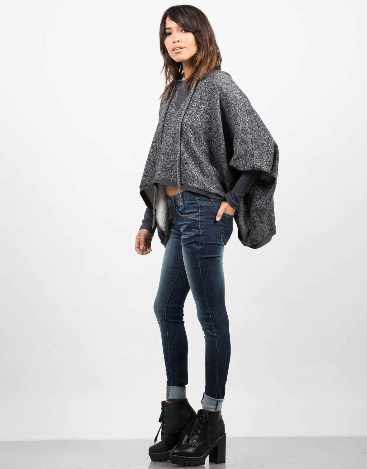 Side View of Draped Hooded Sweater