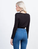 Back View of Draped Long Sleeve Crop Top