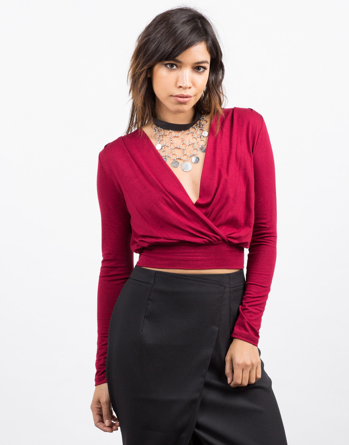 Front View of Draped Long Sleeve Crop Top