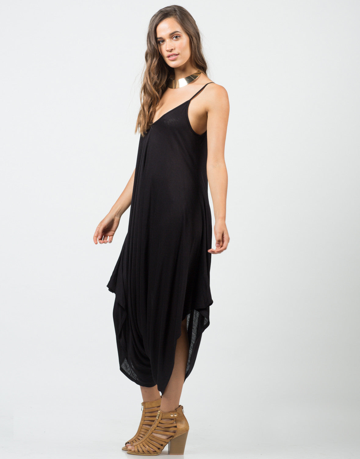 Side View of Draped Sides Romper